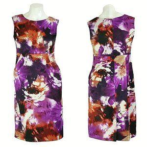 I.N. Studio Floral Satin Sheath Dress w/ Pockets